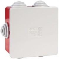 Boîte carrée de dérivation avec passe-fils - rouge - IP44