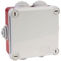 Boîte carrée de dérivation avec passe-fils - rouge - IP55